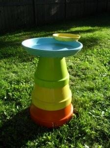 Colorful Flower Pot Bird bath