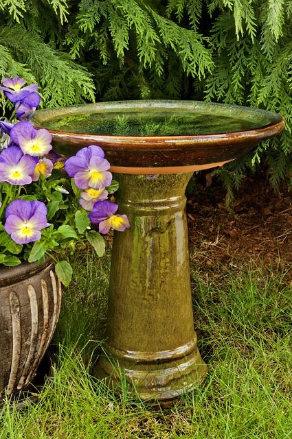 Emerald Bird bath with Pedestal