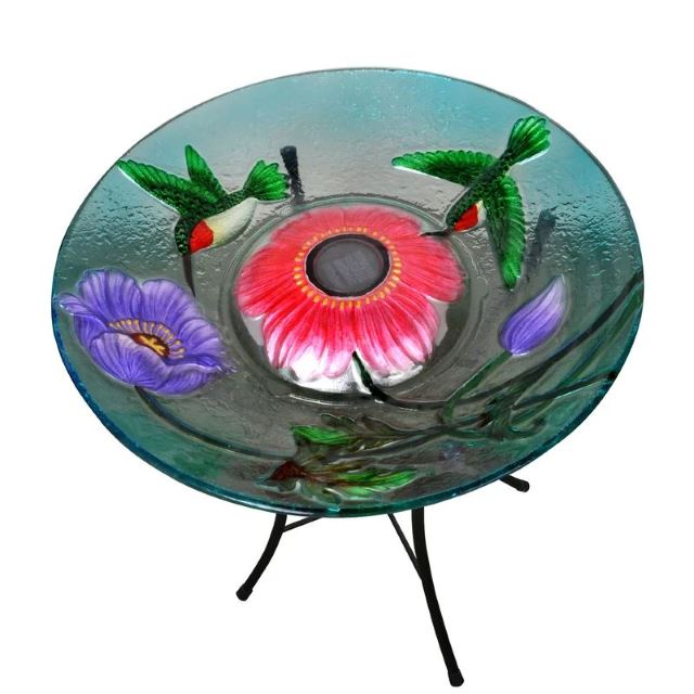 Painted Hummingbird Bird Bath