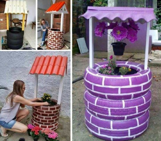 Tire-Wishing-Well-Planter