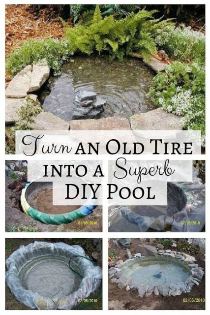 Turn-an-Old-Tire-into-a-Superb-DIY-Pond-3