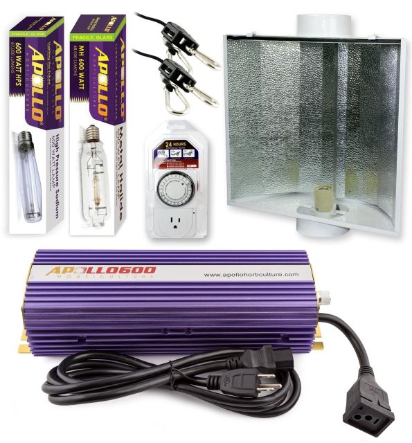 Apollo Horticulture 600 Watt Grow Light Digital Dimmable HPS System