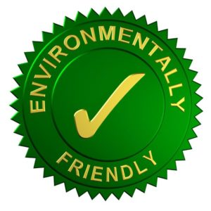 Metallic seal with the words Environmentally Friendly