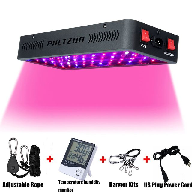 Phlizon Newest Winter 600W LED Plant Grow Light, with Thermometer Humidity Monitor, with Adjustable Rope, Full Spectrum Double Switch Plant Light for Indoor Plants Veg and Flower- 600W(10W LEDs 60Pcs)
