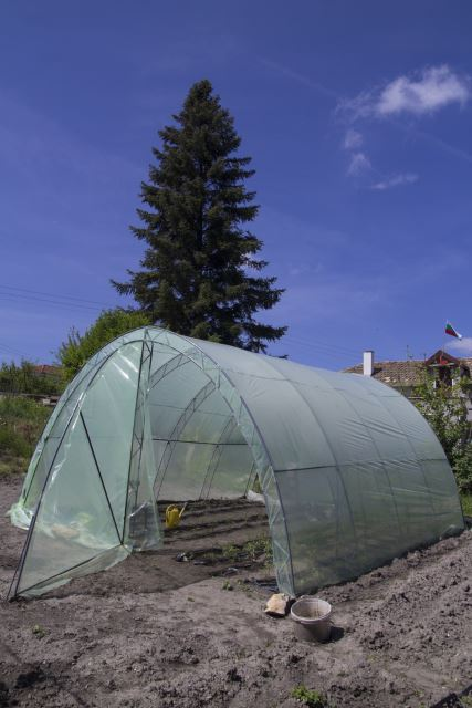 handmade polythene greenhouse for seedlings