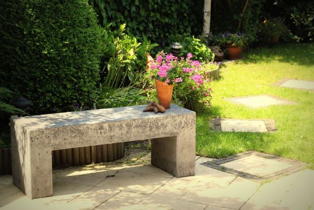 3. Concrete Garden Bench