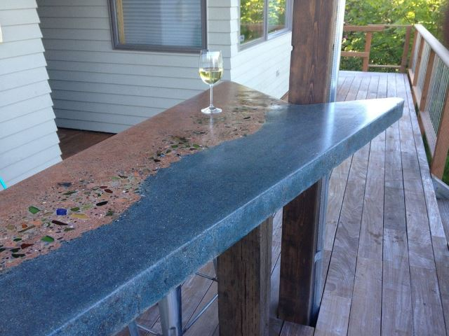 33. Concrete Beach Glass Table