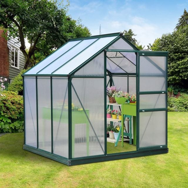 OUTSUNNY POLYCARBONATE WALK-IN GARDEN GREENHOUSE