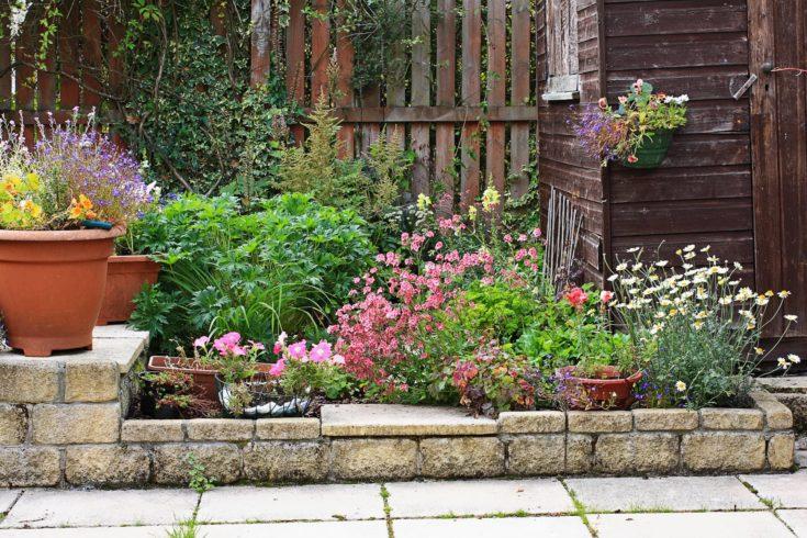 Garden stone landscaping summertime