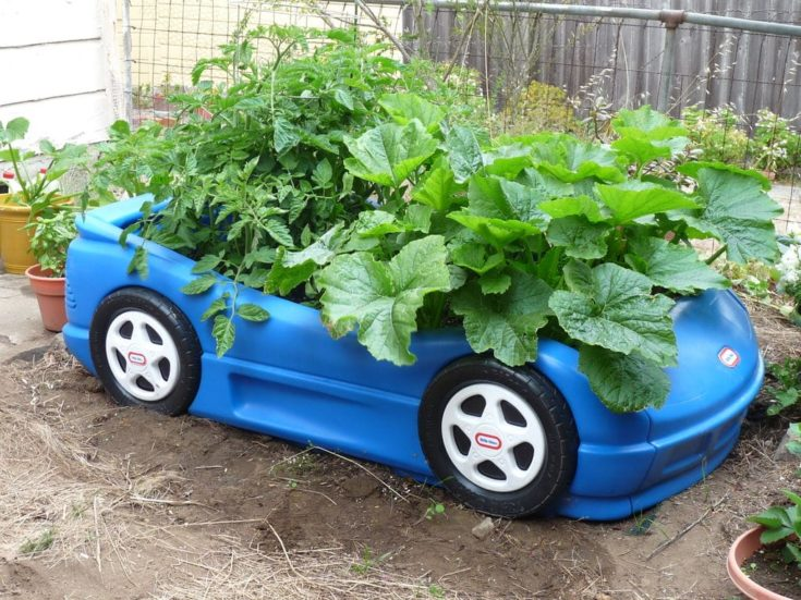 Toy car planter