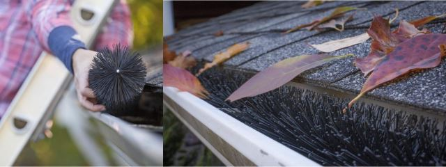 GutterBrush installed to roof gutters