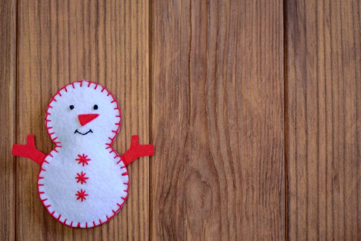 DIY red and white Snowman patch with sew lines on the side