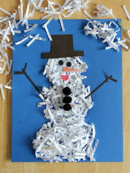 Shredded Bond Paper form into a snow man with a stick hands and a brown hat