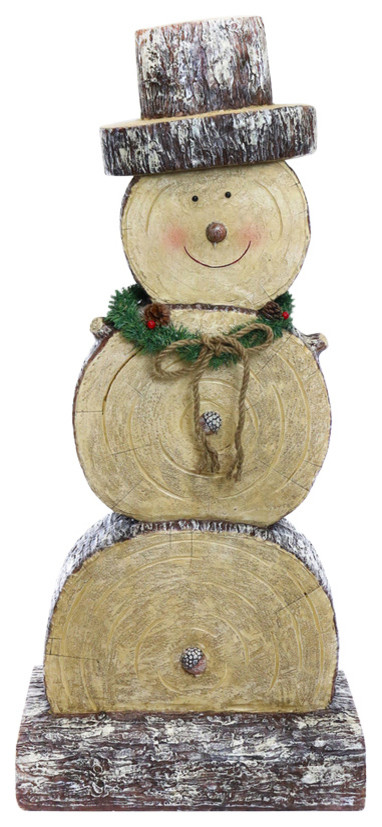Round cut wood placed on top of each other forming the body of a snowman with a hat and christmas wreath on its neck and a rope in it