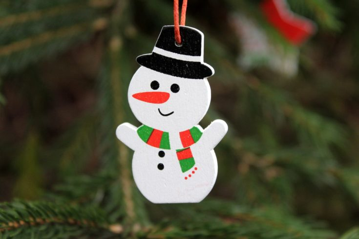 Hanging Snowman made of styrofoam and painted with hat, scarf and eyes and smile
