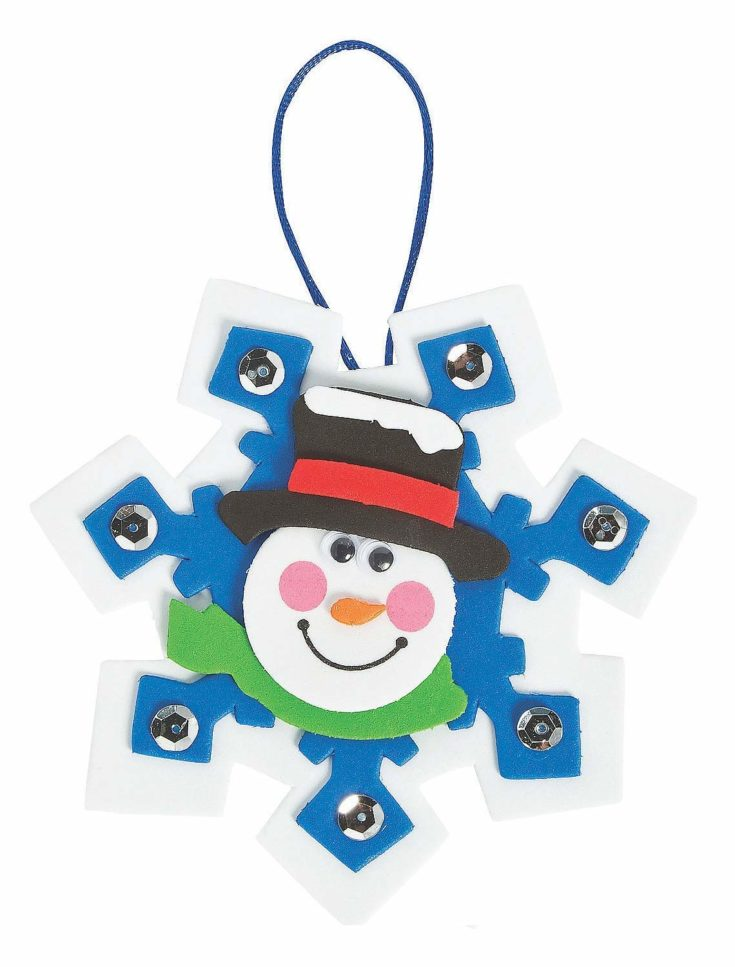 Snowflake shaped with a hanging string and a smiling snowman face in front of it