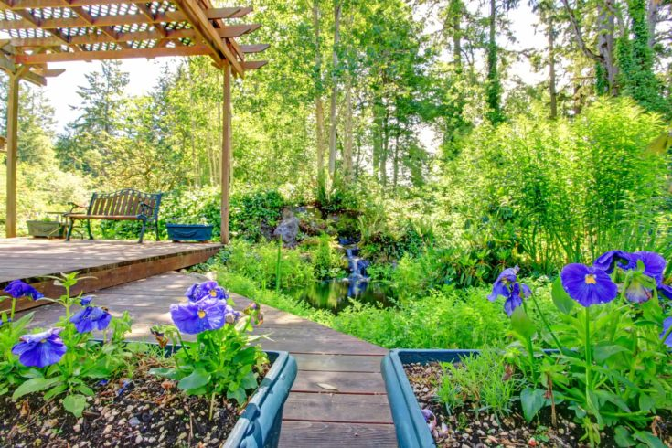 Farm house backyard deck view. Pond and waterfall, covered patio area with rustic old bench and flower pots