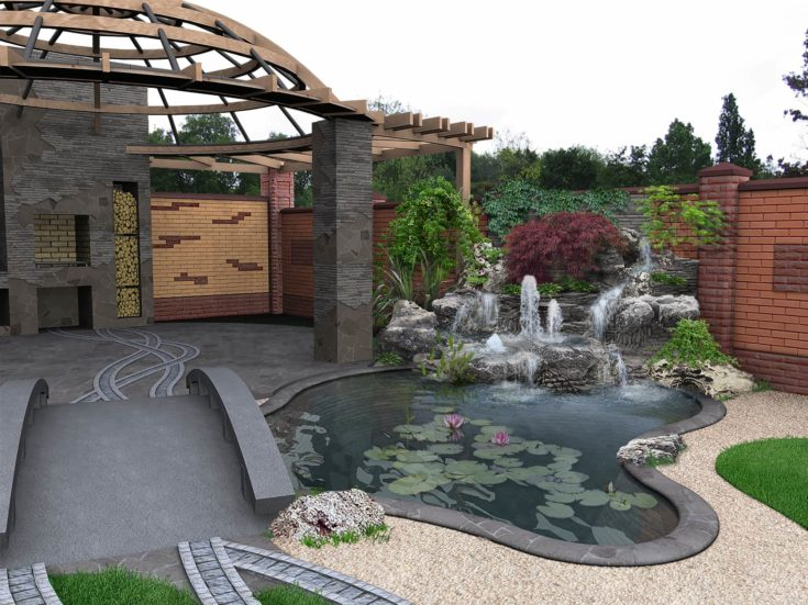 Example of extension to the living space of home. Plants with varying textures, trees and shrubs of various shapes and sizes bring naturalness and soft atmosphere into garden.