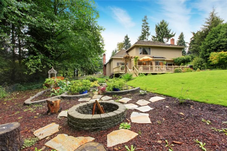 House with spacious backyard area. Garden beds and fire pit