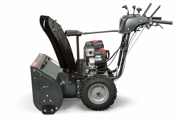 "Sideview of Briggs & Stratton 27"" Dual-Stage Snow Blower w/ Heated Hand Grips, Electric Start, and 250cc Snow Series Engine, Elite 1227 (1696815)."