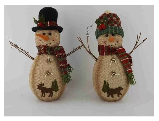 DIY two snowman wearing hat and scarf with animal like creature on their body and two buttons sewed