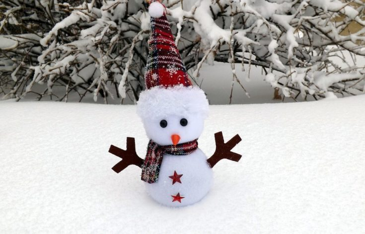 Adorable little snowman with personalized paper cut arms formed as wood and two stars attached on its body standing on a snow with twigs covered with snow on the background