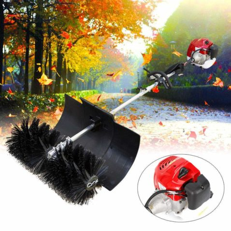 Feiuruhf Hand Held Broom Sweeper 2.3hp Gas Power Snow Sweeper 52CC Concrete Cleaning Machine Brushes Driveway Walkway Behind for Concrete Driveway Lawn Garden Street