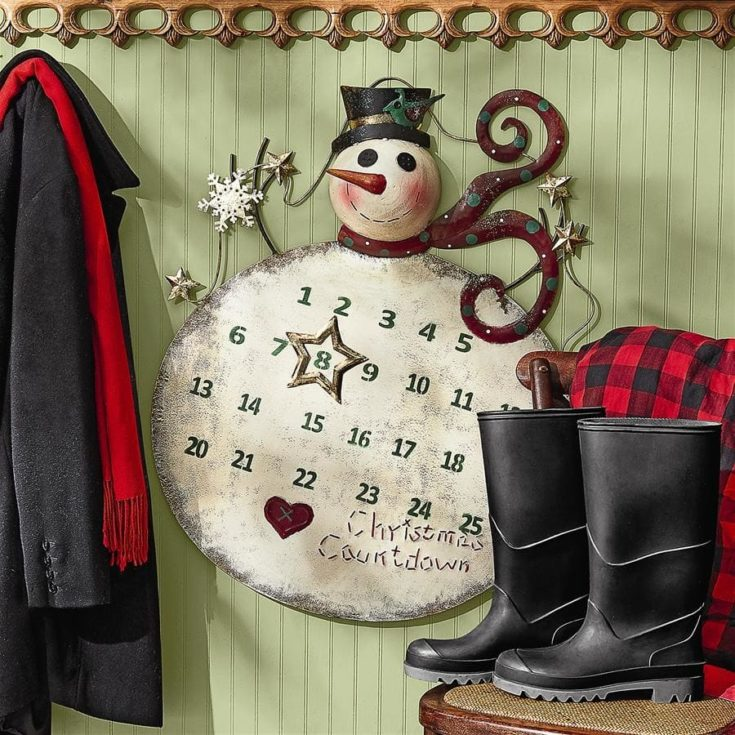 Snowman hanged on a wall with calendar dates on its body and number eight is placed inside a star with boots and coat on its side