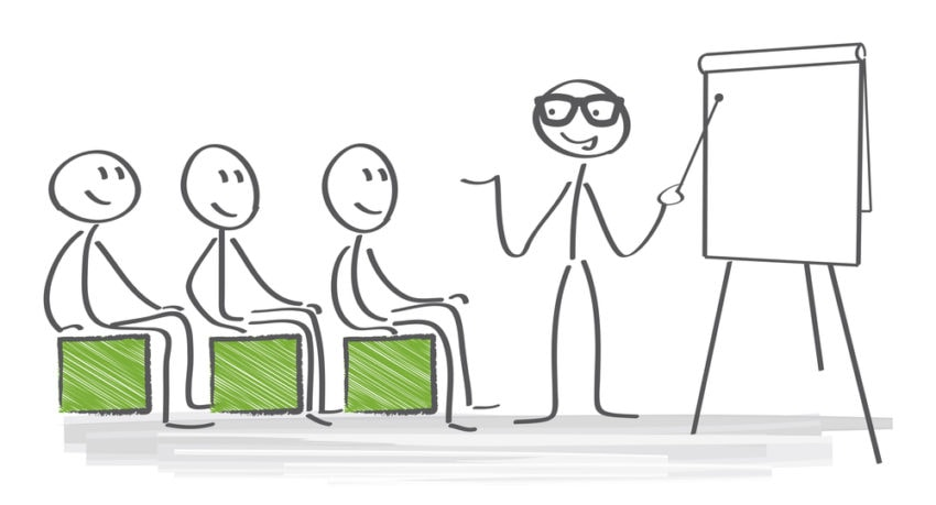 One human stick teacher drawing teaching three human stick drawing with green drawn chairs and board