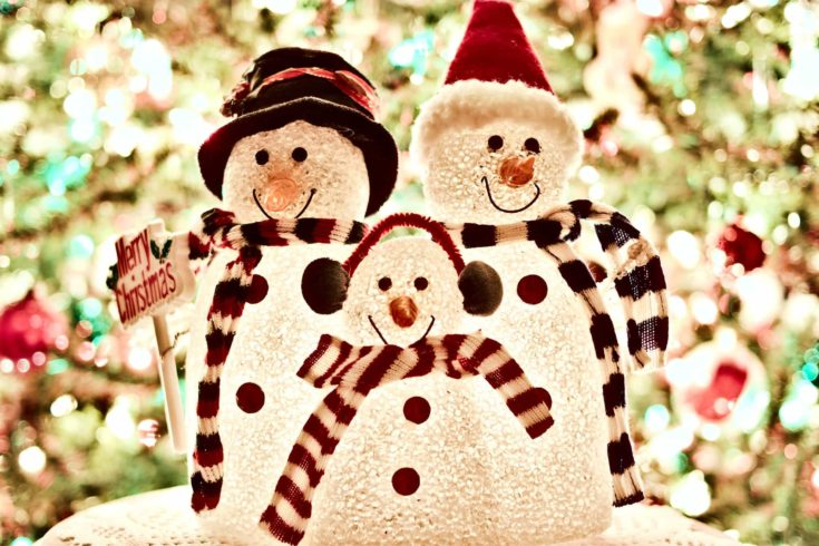 Family themed snowman wearing christmas inspired clothings