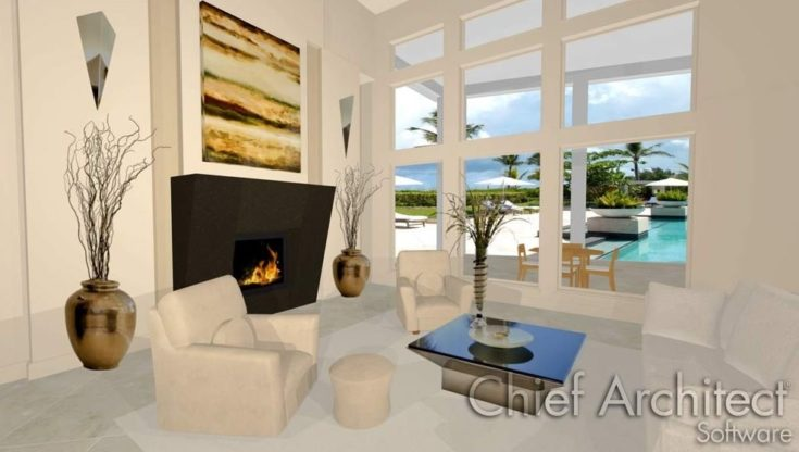 Interior design of a living area,with a fireplace,a sofa and two jars.