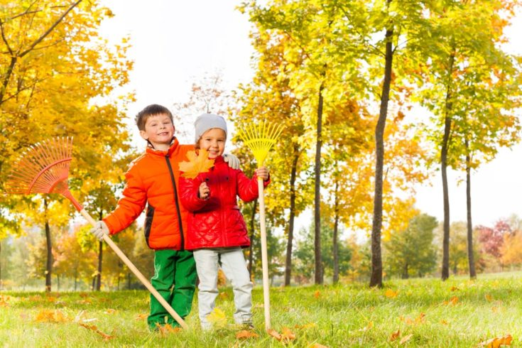 Boy and girl with two rakes standing in beautiful autumn park during day time
