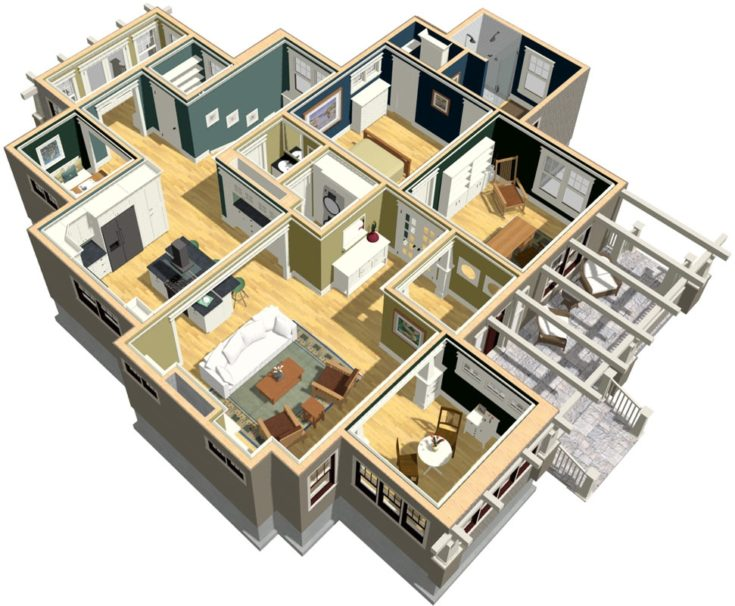 Top view of the house,showing each interior design