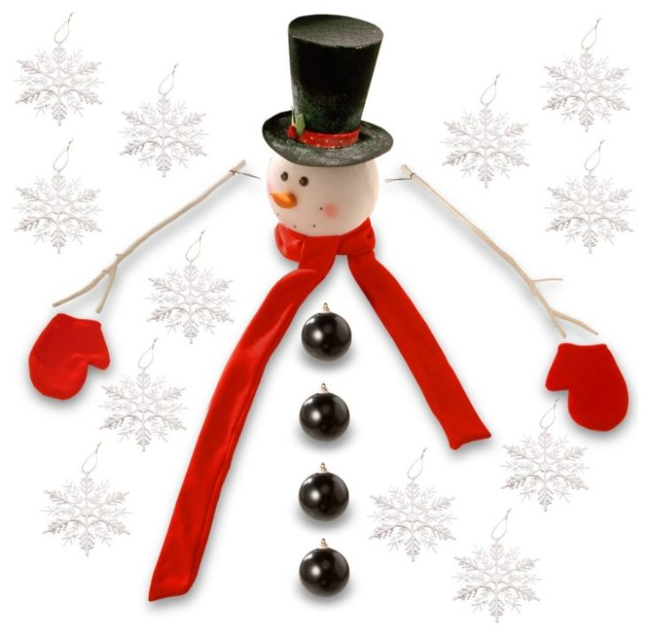 White background and wisely arranged snowman head, wood arm and four black christmas tree balls along with snowflake Christmas tree decors