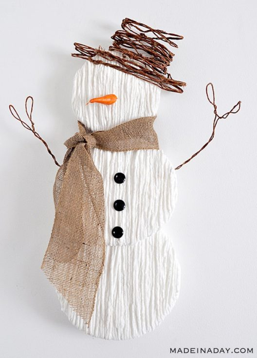 Snowman formed out of yarn with three black buttons attached on its body