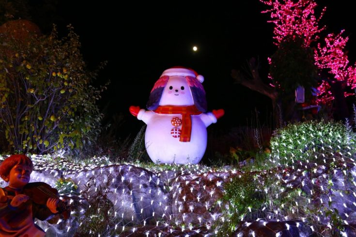 A snowman standing on a christmas light decorated place with trees on its surroundings