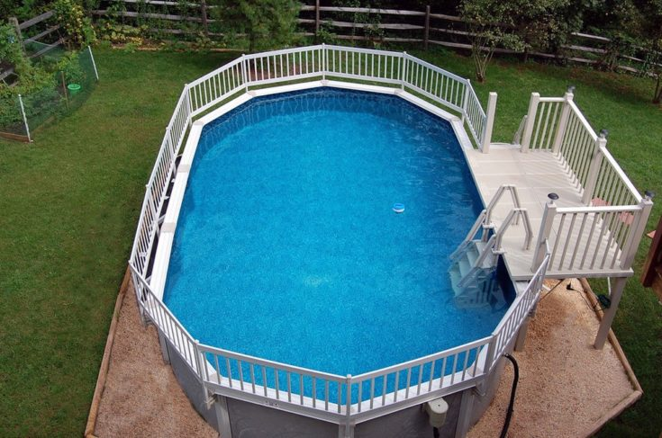 Aerial view of a backyard swimming pool enclosed with fence on top