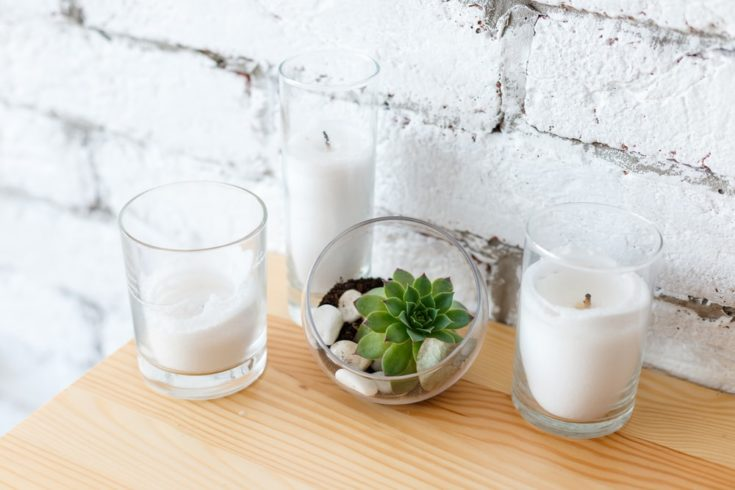 Details of Scandinavian interior design - mini succulent garden in glass terrarium on wooden table, standing near candles on background of white brick wall