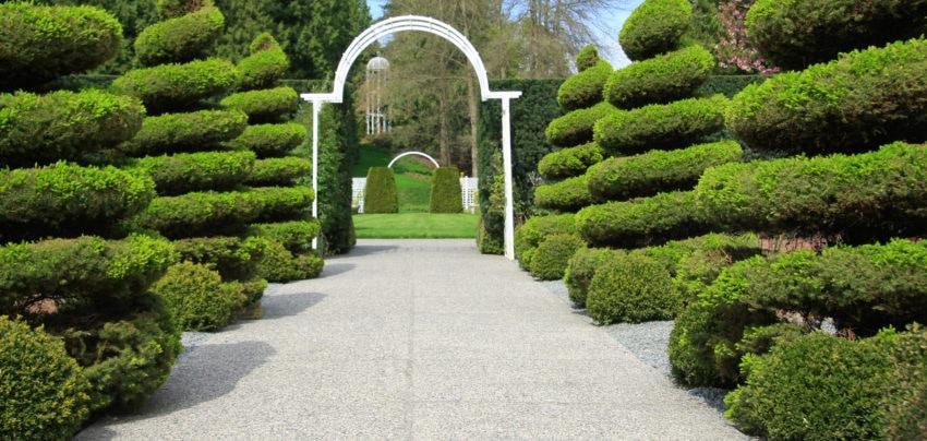 Manicured shrubs line an estate entrance.