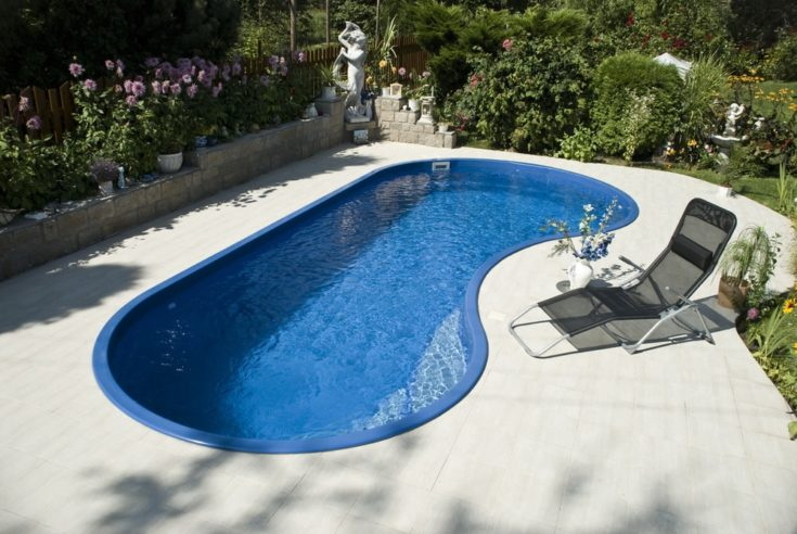 The bean shaped pool with the deckchair and flowers on the side