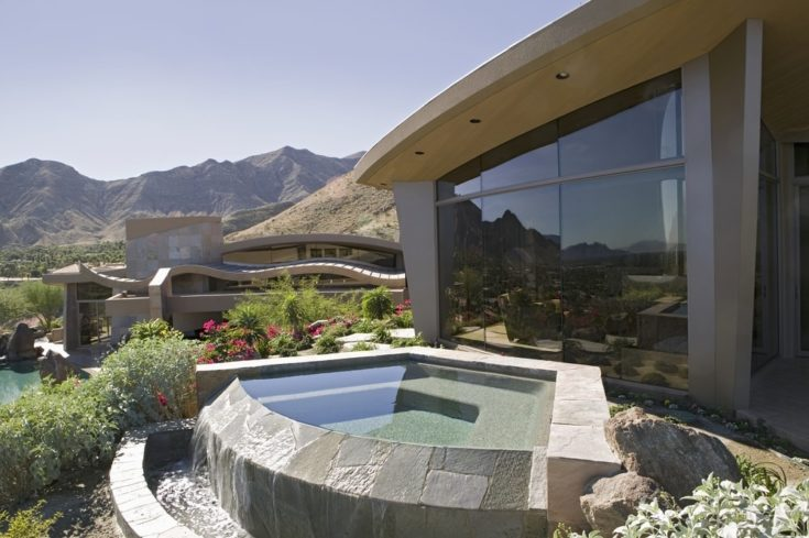 Small backyard swimming pool with a nice view of the mountains
