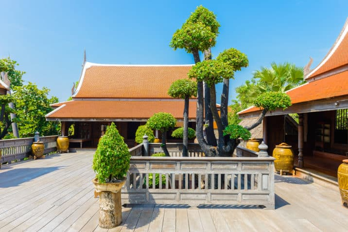 bonsai tree on wooden floor in thai house style use for decorate house