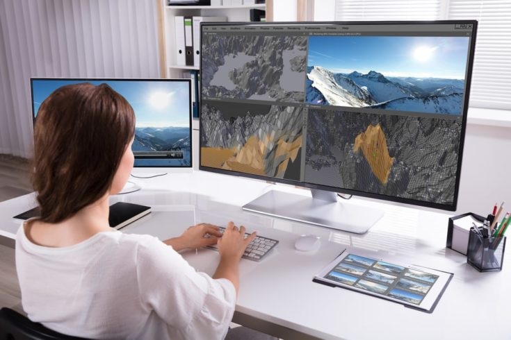 Rear View Of A Woman Working On 3D Landscape On Computer In Office