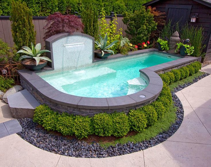 Letter P-shaped swimming pool situated in a backyard surrounded with bushes and plants