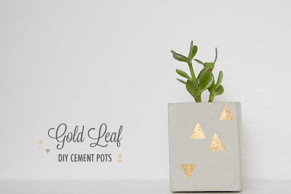 Cement Centerpieces with gold triangle design