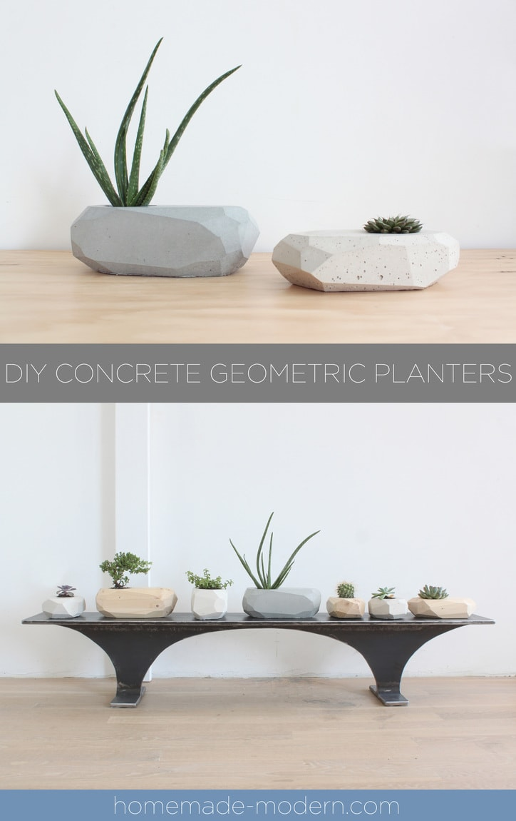 DIY Concrete Geometric Planters