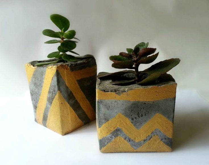DIY Concrete Planters with golden design