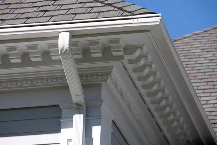Perfectly fit leaf guard gutter on a roof.