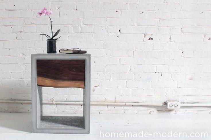 Modern DIY Concrete Walnut Nightstand
