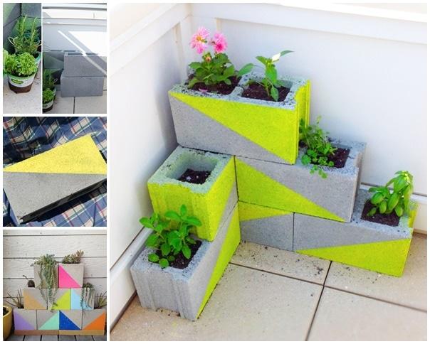 Six Neon Concrete Blocks Planter